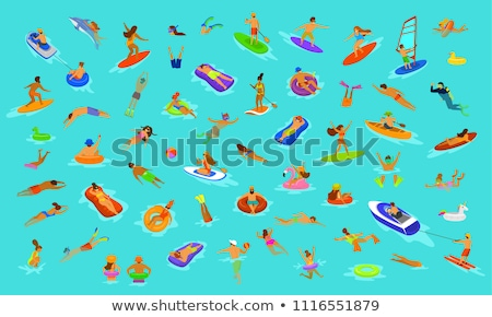 woman standing by pool with inflatable ring stock photo © monkey_business