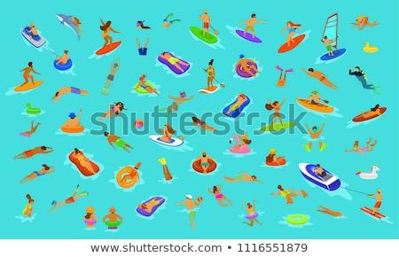 Stockfoto: Vrouw · permanente · zwembad · opblaasbare · ring · vrouwen