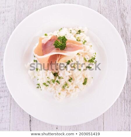 Risotto rijst dining ham maaltijd dieet Stockfoto © M-studio