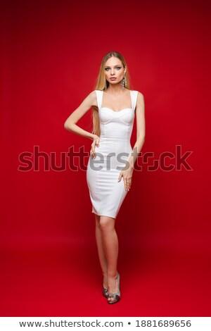 優雅な ブロンド 赤 孤立した 白 女性 ストックフォト © 26kot