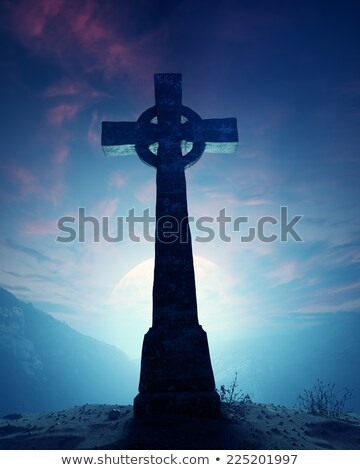 Stock photo: Celtic Cross With Moonscape