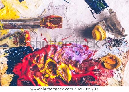 yellow paintbrush close up stock photo © gemenacom