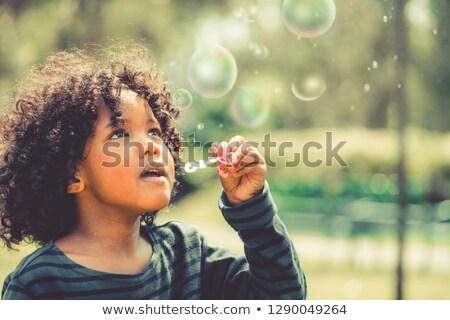 Bir küçük erkek sabun köpüğü bahçe yaz Stok fotoğraf © Klinker