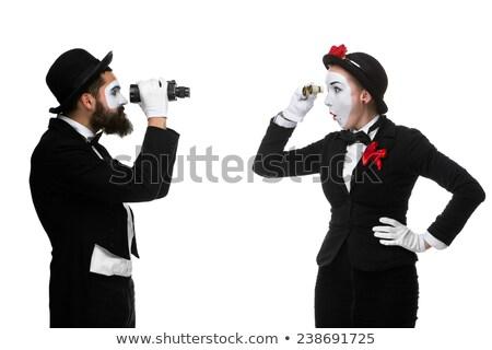 mujer · mirando · binoculares · máscara · cortina · Windows - foto stock © master1305