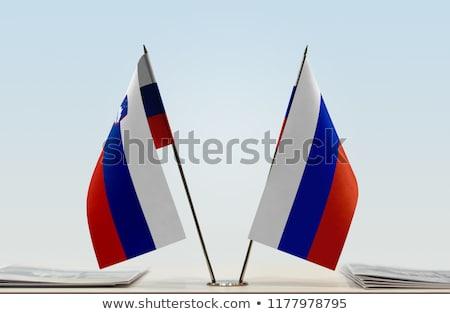 Россия Словения миниатюрный флагами изолированный белый Сток-фото © tashatuvango