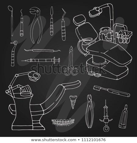 diş · ikon · tebeşir · tahta - stok fotoğraf © rastudio