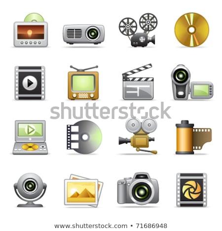 Cámara de vídeo amarillo vector icono botón diseno Foto stock © rizwanali3d