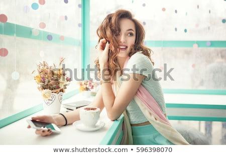 Güzel kız kafe kitaplar kırmızı kadın bayan Stok fotoğraf © FAphoto
