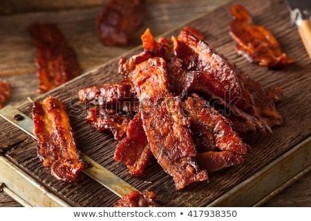 Speck isoliert weiß Abendessen Fleisch Messer Stock foto © OleksandrO