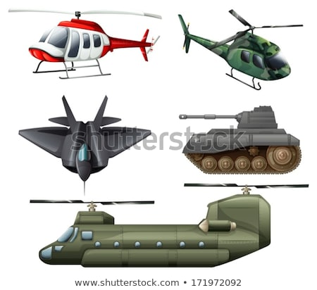 Fighting jetplane, choppers, cannon and tank Stock photo © bluering