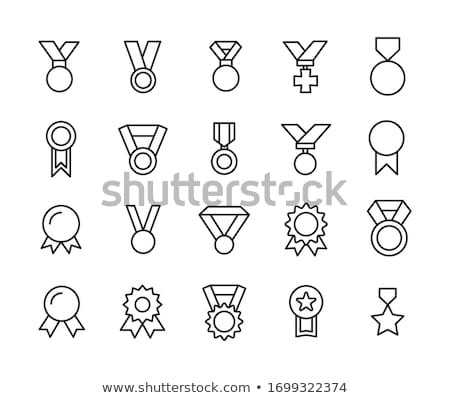 Flat design icons of medal badges ribbon set vector illustration
