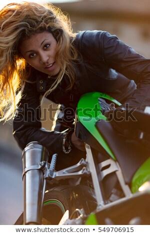 女性 アップ オートバイ 実行 小さな ストックフォト © Giulio_Fornasar