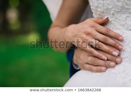 noiva · noivo · em · pé · parque · olhando · mulher - foto stock © tekso