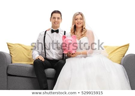 Kaukázusi vőlegény tart persely mosolyog esküvő Stock fotó © RAStudio