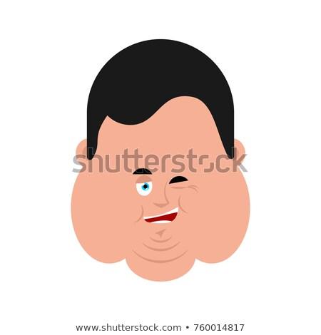 Fat winking face avatar. Stout guy happy emoji. Vector illustrat Stock photo © popaukropa