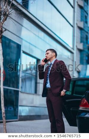 ハンサム 若い男 話し 電話 都市 小さな ストックフォト © TeoLazarev
