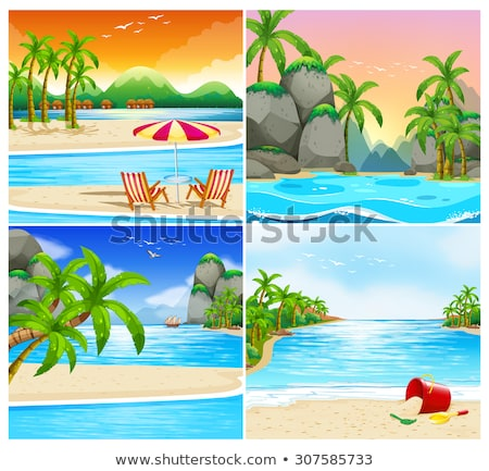 quatre · île · mer · illustration · arbre · paysage - photo stock © bluering