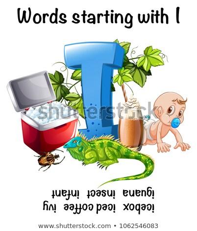 Palavras letra i ilustração feliz abstrato assinar Foto stock © bluering