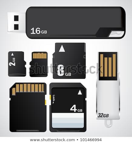 Zwarty flash pamięć karty karty biały Zdjęcia stock © stoonn