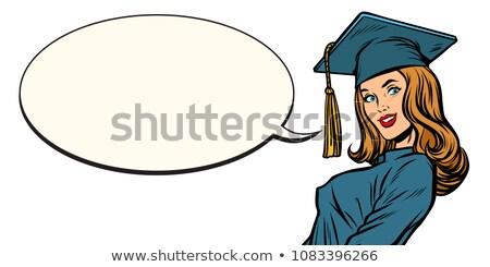 female graduate comic book bubble Stock photo © studiostoks