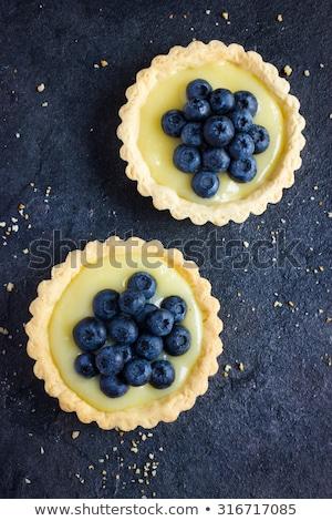 Lemon curd tartlet with fresh blueberries Stock photo © Melnyk
