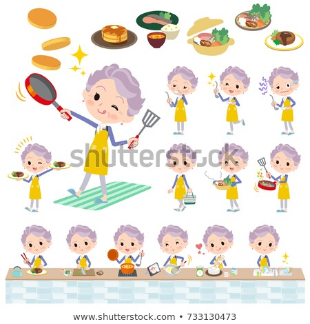blue one piece old women_housekeeping Stock photo © toyotoyo