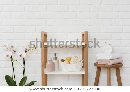 White bath towels and orchid flower stock photo © Epitavi