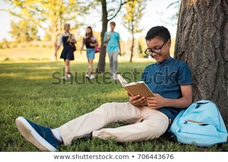 meisje · jongen · lezen · boek · vector · clipart - stockfoto © bluering