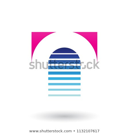 Magenta and Blue Reversed U Icon for Letter A Vector Illustratio Stock photo © cidepix