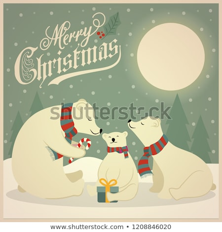 beautiful retro christmas card with polar bears family stock photo © balasoiu