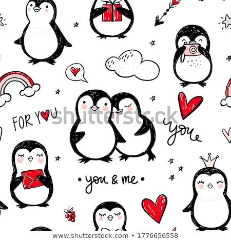 Pequeno pinguim amor desenho animado ilustração Foto stock © cthoman