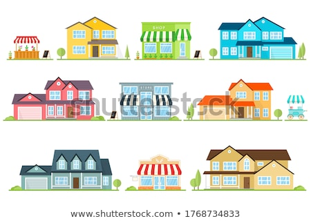 American House Building Vector. modern Urban City Villa With Terrace And Garage. Exterior Classic To Stock photo © pikepicture
