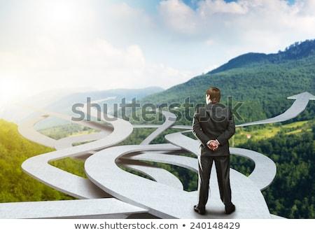 üzletember · készít · döntés · fiatal · barna · nyilak - stock fotó © ra2studio