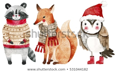 Cartoon Animals in Warm Cloth, Christmas Cards Stock photo © robuart