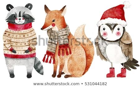 karácsony · kártyák · gyűjtemény · szett · négy · tábla - stock fotó © robuart