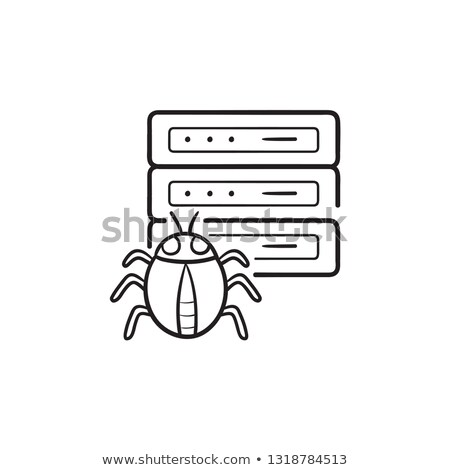 Server infected by malware with bug hand drawn outline doodle icon. Stock photo © RAStudio