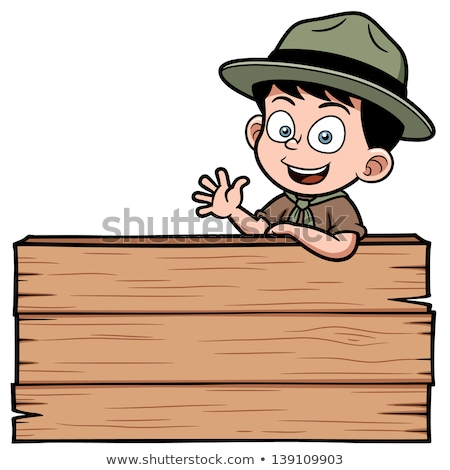Boy scout on wooden board Stock photo © colematt