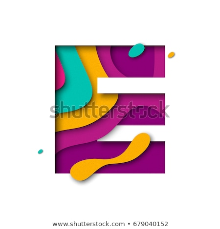 colorful paper cut out font letter e 3d stock photo © djmilic