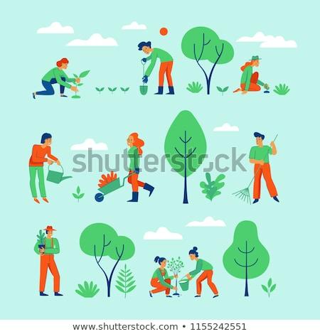 Gazdálkodás emberek dolgoznak mező kertészkedés szett emberek Stock fotó © robuart