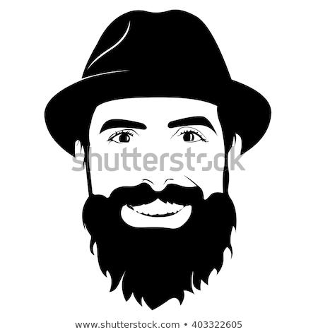 Hipster Wearing Fedora Hat Smiling Drawing Stock photo © patrimonio