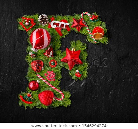 Letter F made of Christmas tree ornaments Stock photo © grafvision