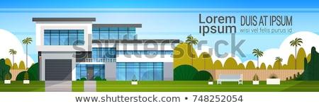 Vektor modern ház épület színes illusztráció Stock fotó © karetniy