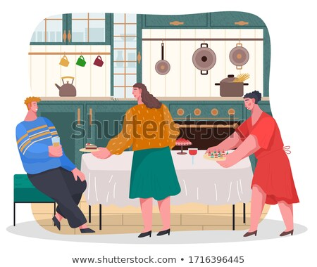 Home Reception of Women with Dessert Food Vector Stock photo © robuart