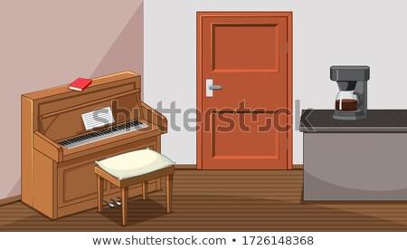 Piano salon cartoon style illustration Photo stock © bluering