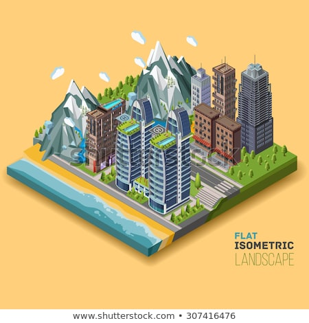 Mountain Skyscrapers isometric icon vector illustration Stock photo © pikepicture