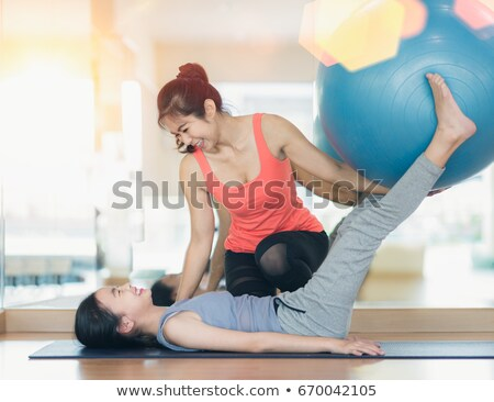 girl in health club on rubber ball Stock photo © Paha_L