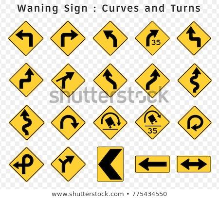 стрелка · дорожный · знак · желтый · дорожных · знаков · изолированный · белый - Сток-фото © tashatuvango