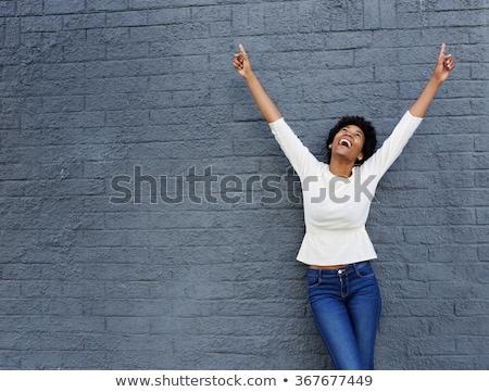 興奮した 幸せ 黒人女性 孤立した 女性 ストックフォト © pablocalvog