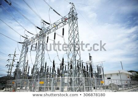 высокое напряжение небе современных электрических власти синий Сток-фото © vavlt