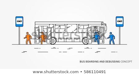 Beszállás busz zene tájkép férfiak szemüveg Stock fotó © photography33